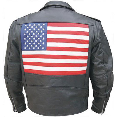 AL2018-Mens USA Flag Premium Split Cowhide Leather Motorcycle Ja