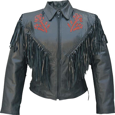 AL2105-Ladies Red Rose Goat Skin Leather Jacket
