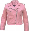 AL2120-Ladies Pink Basic Full Cut Motorcycle Jacket